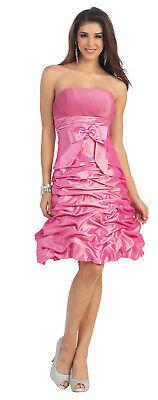 Cocktailkleid kurz Abi-Ballkleid Bustier-Abendkleid schlicht pink Taft Gr.48 4XL