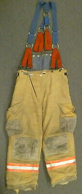 38x29 Cairns Tan Firefighter Pants W Suspenders Bunker Turnout Fire Gear P045