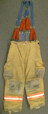 38x29 Cairns Tan Firefighter Pants W Suspenders Bunker Turnout Fire Gear P045