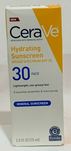 CeraVe Hydrating Sunscreen SPF 30 Face 2.5 oz / 75ml NEW SALE 10/2020+