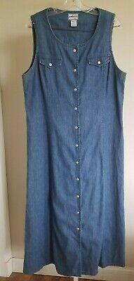 vtg PENDLETON blue jean dress jumper romper OVERALL casual shirt button down L - Blue Jean Jumper