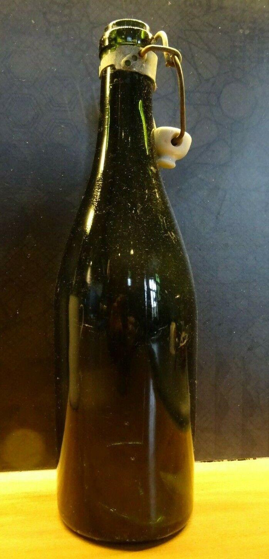 Ancienne bouteille vin / cidre / champagne 0,75l verre bullé bouchon porcelaine