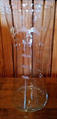 Vintage Crystal Clear Glass Vase Hand Blown and Etched with a Palm Tree Design Crystal Clear Glass Vase