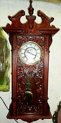 3305M D&A 33 Regulator Wall Clock Mahogany CARVED Case Key Wind Hammer Chimes
