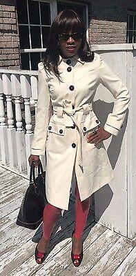 (Belted Designer Via Full length White cream color wool blend coat Jacket S 2)