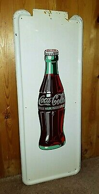 "COKE-TACULAR Vintage 1947 Coca-Cola 40"" x 16"" Pilaster Sign in WONDERFUL Shape!"