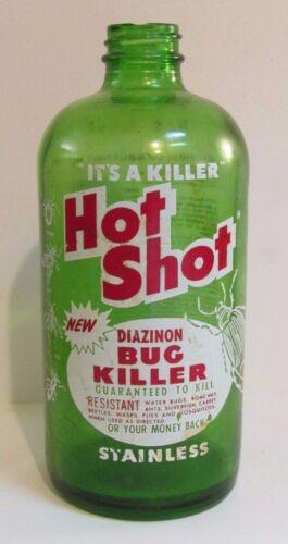 VINTAGE BUG KILLER / HOT SHOT GREEN GLASS  BOTTLE