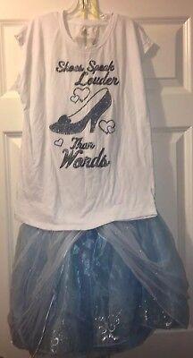 Disney Authentic Cinderella Tutu & T-shirt Tweens Size 13/14 Costume
