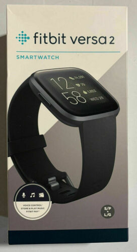 Fitbit Versa 2 Health & Fitness Smartwatch w Heart Rate, Music, Black/Carbon,