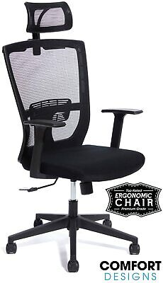 High Back Mesh Office Computer Chair Wheadrest - Ergonomic With Lumbar Support