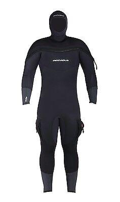 Pinnacle Polar M8 Hooded Full Scuba Diving Wetsuit Men's Black Merino
