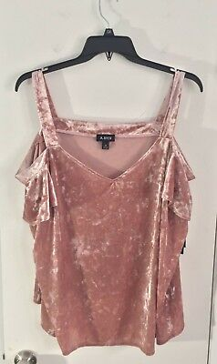 A Byer Womens Blouse Top Cap Sleeve Neck Cold Shoulder Velvet Rose Plus Size (Rose Top Cap)