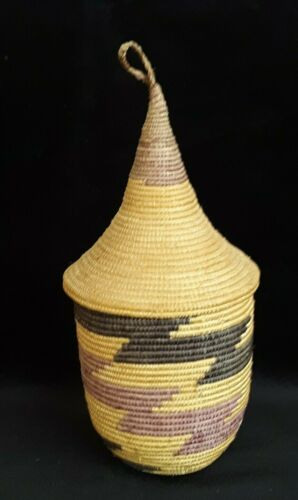 """Vintage Tutsi Watusi African Rwanda Lidded Basket Coiled Pointed Cone Lid 7"""""""