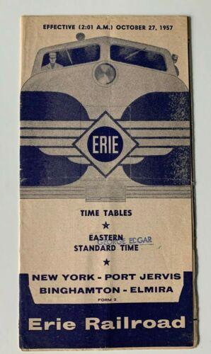 1957 Erie Railroad RR Timetable Form 2 New York Port Jervis Binghamton Elmira