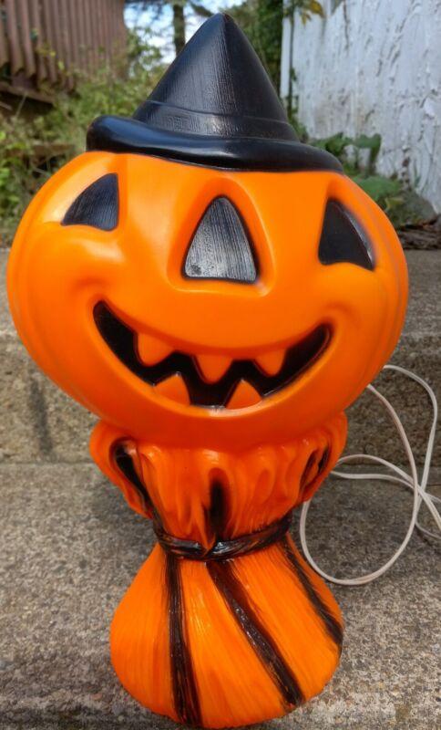 """Vintage 14"""" Halloween Blow Mold Empire Haystack Pumpkin Jack-O-Lantern 1969"""