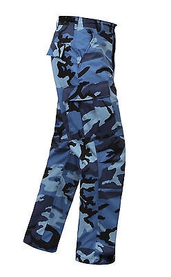 Mens Fatigue Pants - Sky Blue Camo ROTHCO MENS BDU Pants, Military Fatigues CARGOS SWATS XS TO 3X