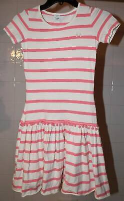 Boutique No Added Sugar Pink Cream Striped Knit Twirl Dress 11 12 Yrs