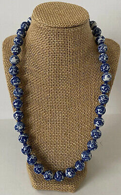 Vtg (1950s) Chinese Blue & White Porcelain Bean Necklace Oriental Bead Necklace