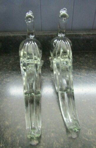 PADEN CITY LARGE GLASS CRYSTAL PHEASANT FIGURINES WITH TURNED HEADS PAIR