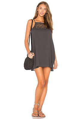 L Space Sunny Sleeveless Crochet Neckline Cover Up Tunic Dress Charcoal S  79