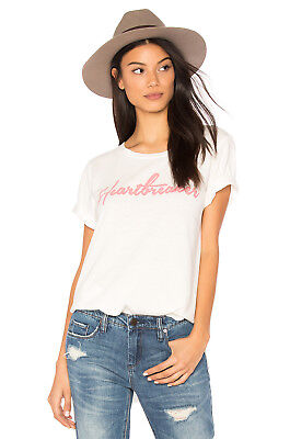 JUNK FOOD Clothing S/S Heartbreaker Crew Tee Shirt Top Vintage Tusk White M $55