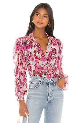 MISA Los Angeles $225 Joanne Floral Shirred Sleeve Blouse Top Size Small
