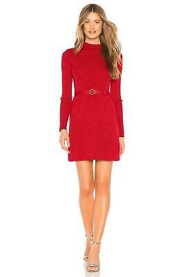 Free People French Girl Sweater Mini Dress Red Glitter Metallic Sz XS NWT $108