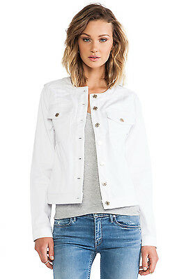 NWT 7 FOR ALL MANKIND SzXS BUTTON FRONT STRETCH-DENIM JACKET WHITE FASHION $265