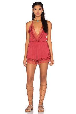 NWT $167 Tularosa Revolve Charmer Plunge Romper Coachella - Cherry Red - Small (Coachella Romper)