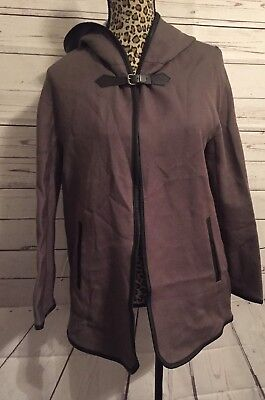 Zara Trafaluc Womens Jacket Brown Hooded Cape Coat Size S