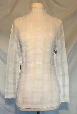 Vintage ISSEY MIYAKE White Semi Sheer Plaid Pleats Long Sleeve Top, Small