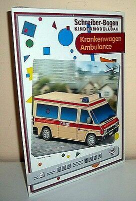 + KARTONMODELLBAU  Krankenwagen  SCHREIBER-BOGEN 633 Cardboard Modelling
