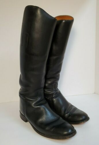 Vintage Marlborough English Riding Boots England Black Leather Horse Equestrian