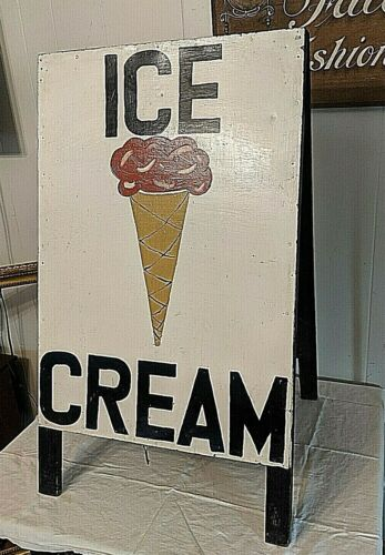 Vintage Metal and Wood Double Sided Ice Cream Cones Sidewalk Cafe Board Sign