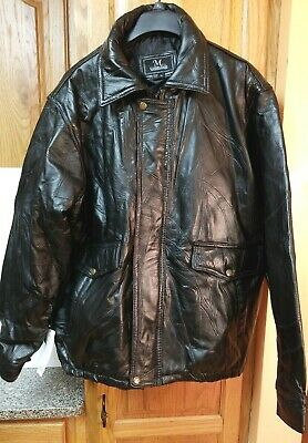 NWT M. COLLECTION Men's BLACK LEATHER STITCHED Jacket Sz EXTRA LARGE