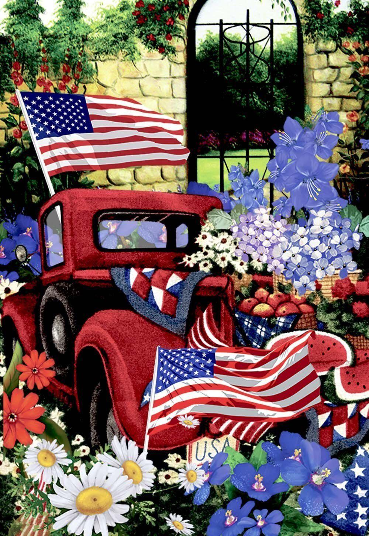 Morigins Patriotic Welcome July 4th Red Truck Flower Harvest