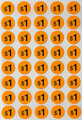 Garage Sale Round Label Neon Orange Dots 19 Mm 1040 Pack Preprinted Sticker