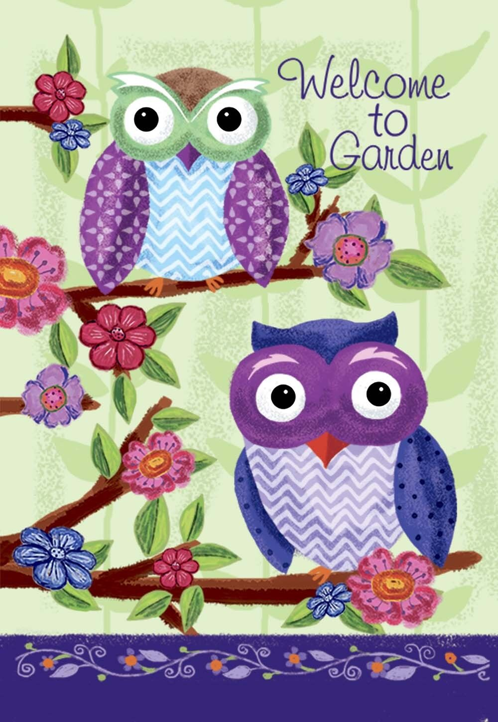 Morigins - Owl cut animal Welcome Double-Sided Spring Garden
