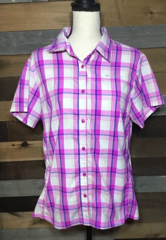 Women's Columbia Pink/Purple Plaid Casual Button Up Shirt Sz XL Outdoor Hiking