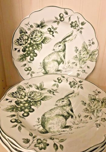 MAXCERA Easter GREEN & WHITE Country Toile Bunny Rabbit Dinner Plates Up to 12