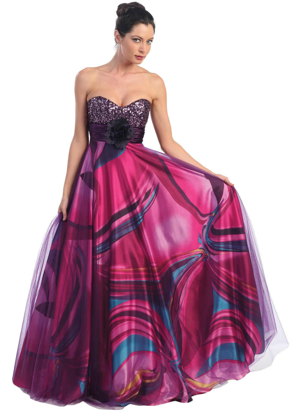 Multi Color 6pcs Honeycomb Handle Design Ombre Makeup: Long Multi Color Flower Print Prom Dresses Homecoming Sexy