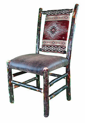 Rustic Hickory Upholstered Seat And Back Dining Chair Restaurant Chair