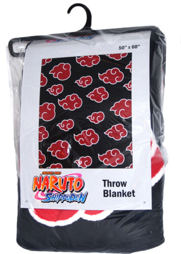 "Naruto Shippuden Akatsuki Clouds Throw Blanket 50""x60"" New Tag Official Licensed"