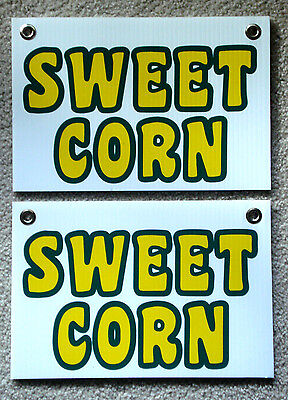 2 Sweet Corn Plastic Coroplast Signs New 8 X 12 With Grommets