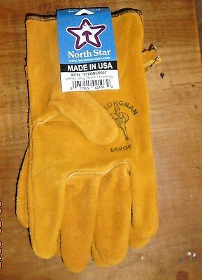 Cowhide Leather Work Gloves With Adjustable Strap 1 Pr Sm Med Lg Xl Made In Usa