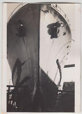 Foto-bug ((F17332) Orig. Foto Bug eines großen Schiffes im Bau, Werft 1940er)