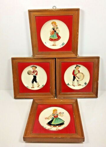 4 Set Vintage Collectable Hand Painted Helen Studios Los Angeles Plates Swiss