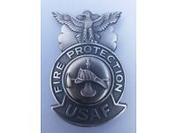 AIR FORCE 1980s NOS #2 USAF FIRE PROTECTION FIREFIGHTER BADGE UNITED STATES U.S