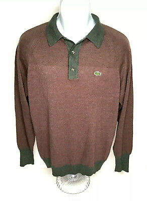 Vtg izod lacoste sweater Mens L Collared Pullover Wool Horizontal Stripes Gray