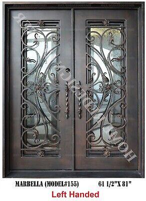 Marbella Wrought Iron Double door Operable Glass in Dark Bronze Left -